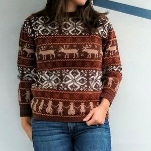 Vintage Fair Isle Reindeer Print US Made Sweater